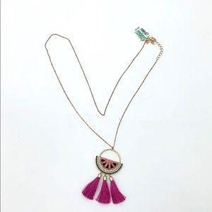 INC Watermelon Long Pendant Tassel Necklace NEW
